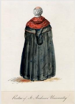 University of St Andrews Rector. Watercolour. Anon. 1850. Image courtesy of University of St Andrews Library FramedShelf-11-45