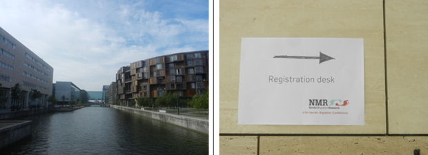 Copenhagen University campus and registration sign