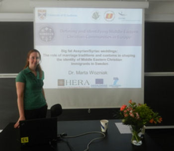 Dr Marta Wozniak presenting a paper at the conference