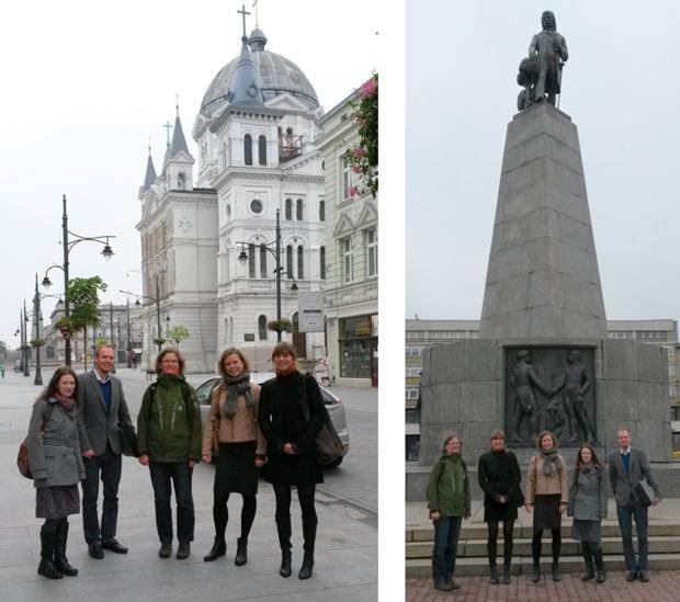 DIMECCE team members in Piotrkowska street and Liberty Square, Lodz