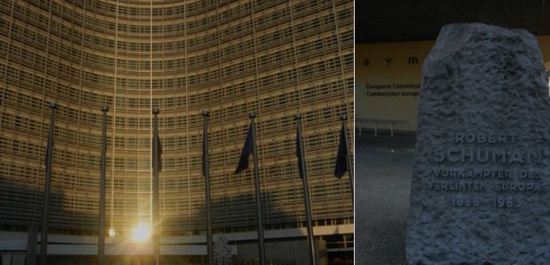 European Commission Building in the sunset and Robert Schuman monument in front of it
